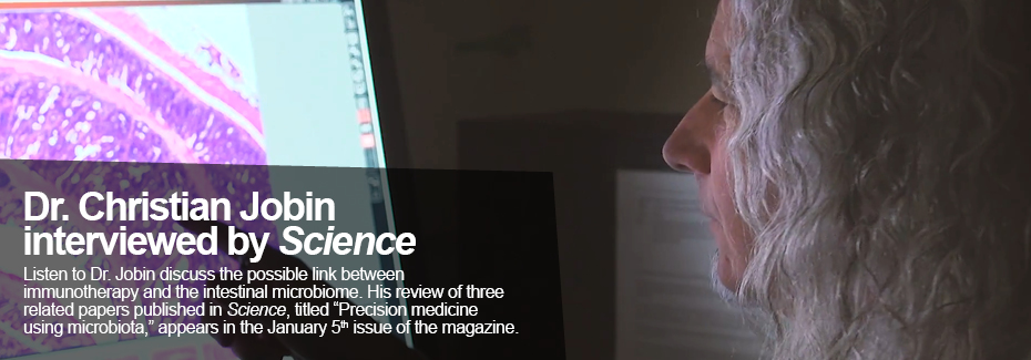 """Dr. Jobin pointing at microscopic image on screen. Text reads: Dr. Christian Jobin interviewed by Science; Listen to Dr. Jobin discuss the possible link between immunotherapy and the intestinal microbiome. His review of three related papers published in Science, titled """"Precision medicine using microbiota,"""" appears in the January 5th issue of the magazine"""