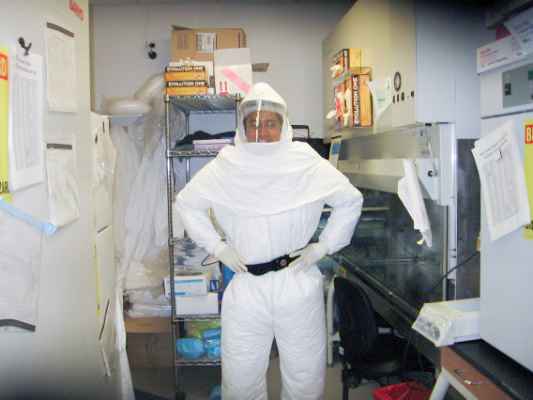 Dr. Tuanyok poses in safety gear
