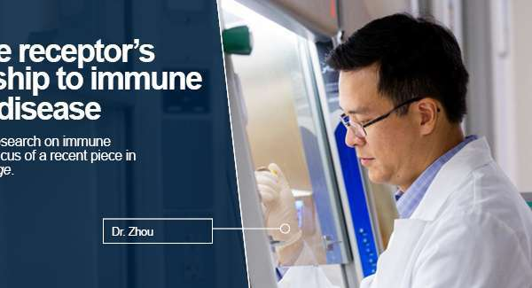 Image: Dr. Zhou uses pipette under hood. Text reads: A unique receptor's relationship to immune system disease Dr. Liang Zhou's research on immune responses is the focus of a recent piece in The Veterinary Page.