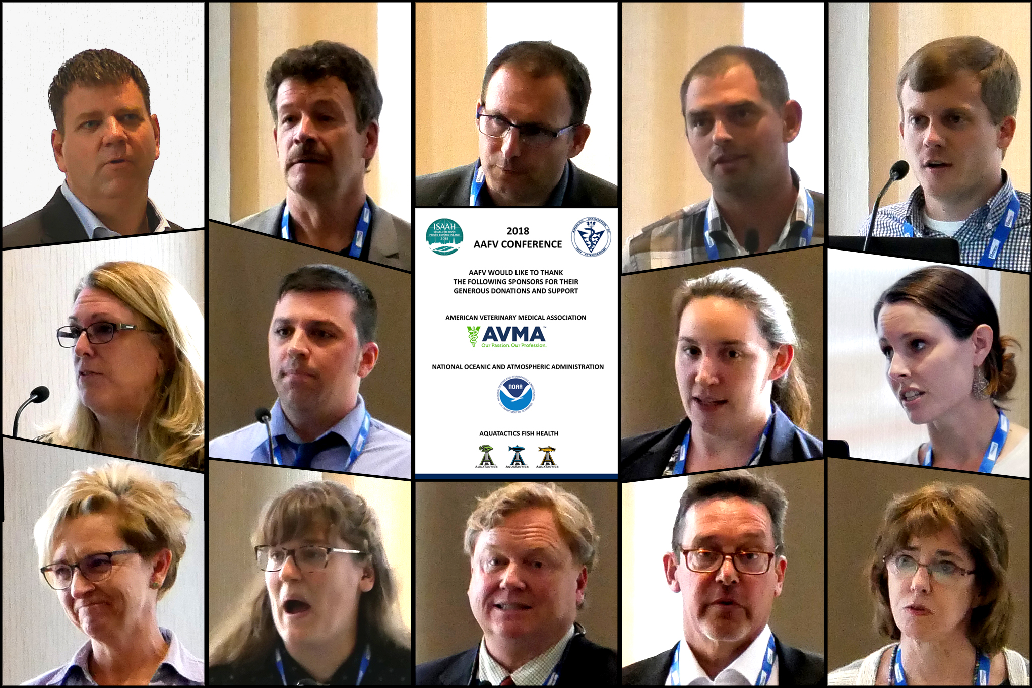 "Collage of various researchers surrounding a card that reads: ""2018 AAFV Conference; AAFV would like to thank the following sponsors for their generous donations and support; American Veterinary Medical Association; National Oceanic and Atmospheric Administration; Aquatics Fish Health"